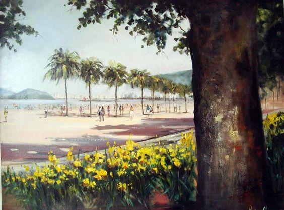 Tela maravilhosa de Mirian Alvim , em exposiçao no Parque Balneário / Santos