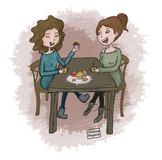 Cobijarse del frío en una cafetería,  tomar un té caliente y saborear unos pasteles,  hablar durante horas y que el tiempo se pare…  (Cristina Mayoral ILUSTRACION)