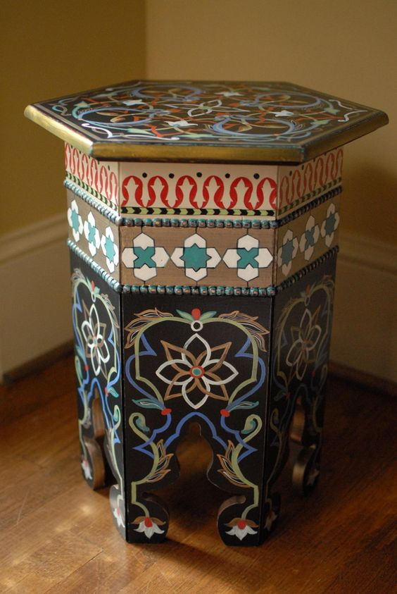 Moroccan hand painted side table furniture pinterest for Moroccan hand painted furniture