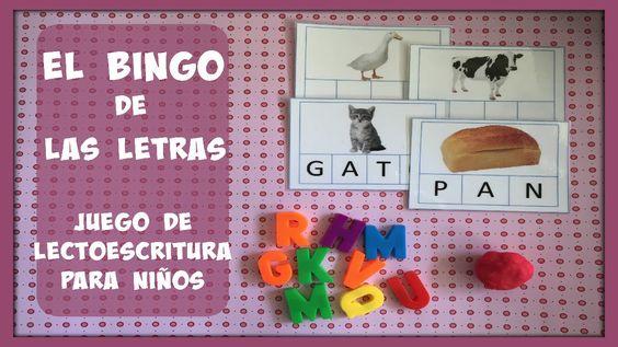 El bingo de las letras: Juego de lectoescritura para niños.
