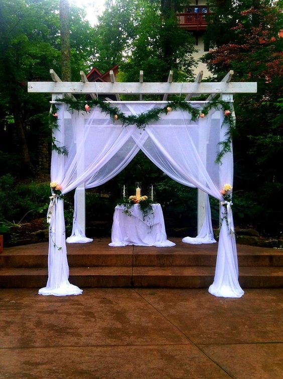 A Beautifully Decorated Pergola We Made For A Wedding At Landoll S Castle Pavilion Wedding Decorations Wedding Pergola Gazebo Wedding Decorations