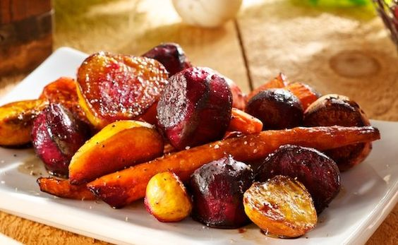 Roasted Beets, Carrots and Turnips with Balsamic Vinegar.  Alternative Xmas veg