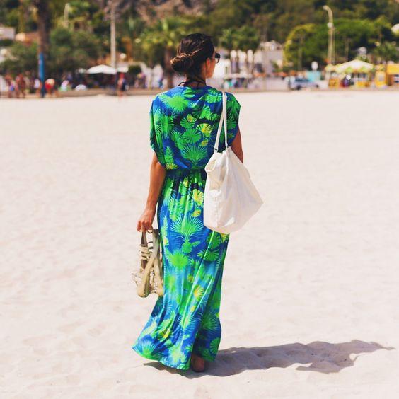 Saída de praia longa floral  - moda praia- beachwear