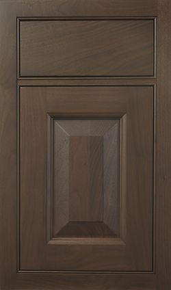 Devoncourt Raised door style by #WoodMode, shown in Matte Napa finish on walnut.