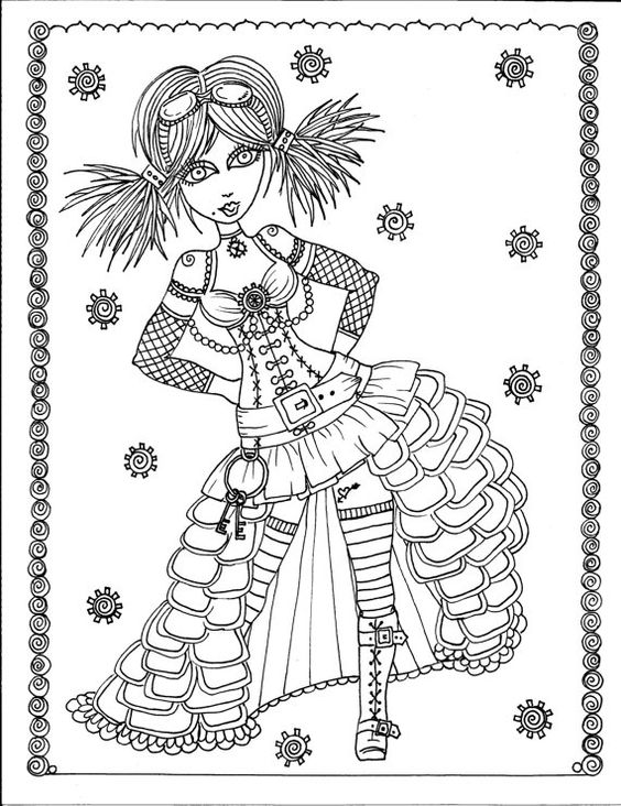 steampunk girl coloring pages - photo#11