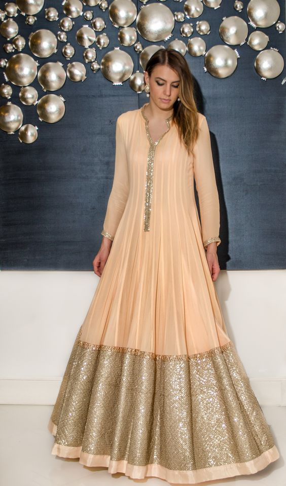simple beige floor length anarkali with extended sequin ...