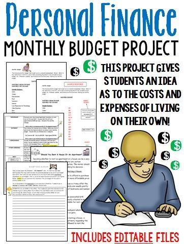 Printables Personal Finance Worksheets For High School personal finance budgeting and planning monthly project math projects
