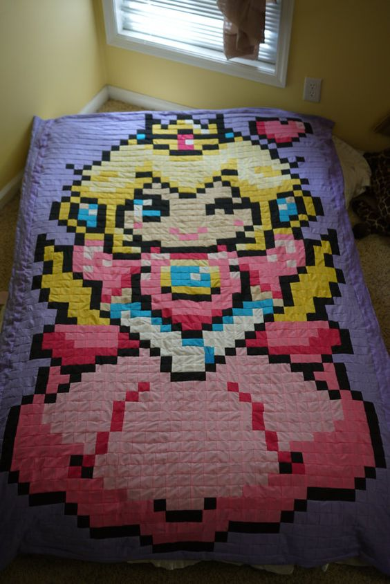 Peach 8bit Quilt by 8bitHealey on Etsy