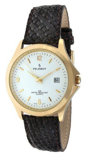 Peugeot Men's 2024BR Gold-Tone Brown Leather Strap Watch Peugeot. $59.50. Water-resistant to 99 feet (30 M). Free lifetime battery replacement from Peugeot. Accurate Japanese-quartz movement; durable mineral crystal. Limited lifetime warranty. Genuine leather strap