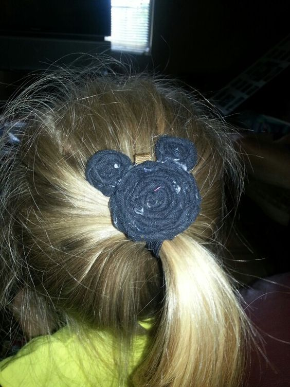 Mickey mouse rolled flower hair bow.