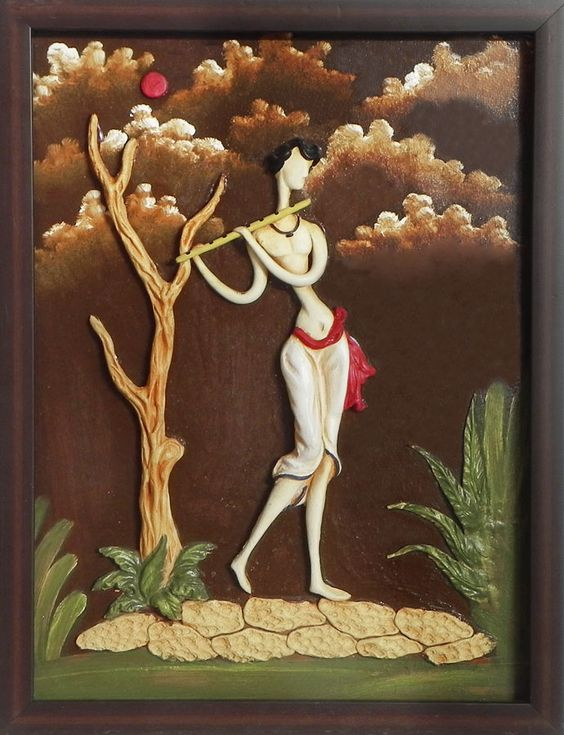 Indian Village Boy Playing Flute - Wall Hanging (Poly Resin on Hardboard)):