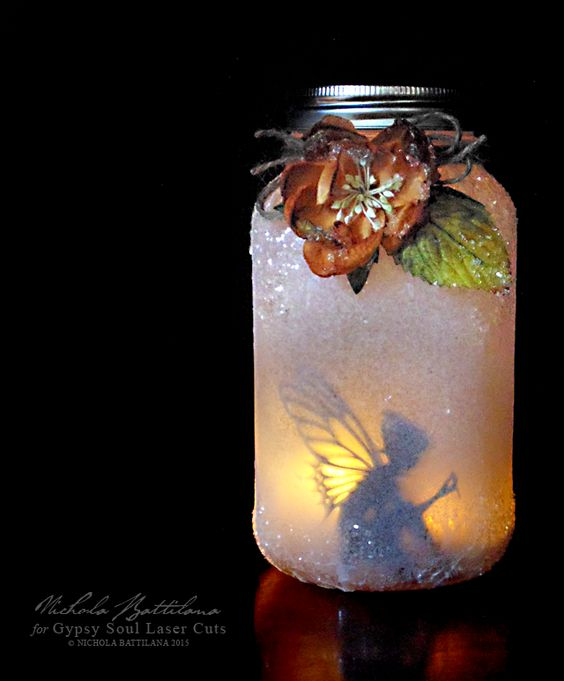 Turn A Mason Jar Into A Fairy Lantern - video tutorial at the link (This would work with any silhouette; such a fun idea!)
