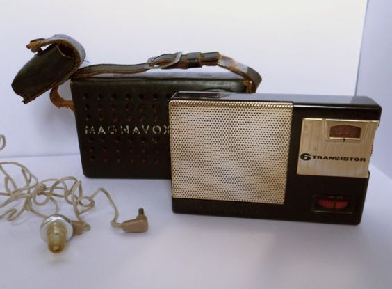 Vintage Radio - Retro 1961 Transistor Radio model is Magnavox Am-22 with Leather Case and Original Ear Piece   for sale on Etsy
