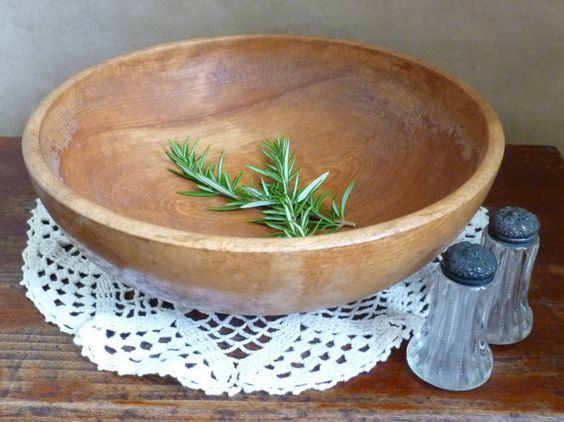 Large Wooden Bowl Made in Occupied Japan / Rustic by portabello