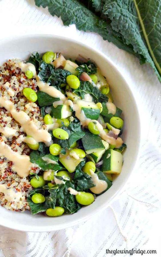Green Goddess Bowl With Zucchini, Edamame, & Kale