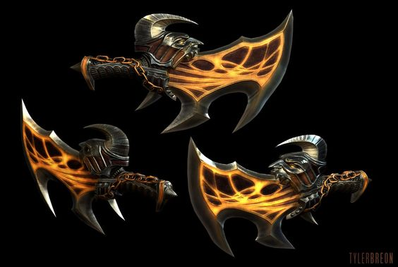 God of War 3 - Exile Blades (in-game), Tyler Breon on ArtStation at https://www.artstation.com/artwork/rJOdG