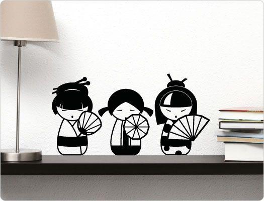 Wandtattoo Geisha-Puppen
