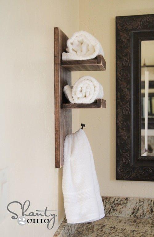 Diy Towel Rack Towels Bathroom, Bathroom Shelves With Towel Bar Ideas