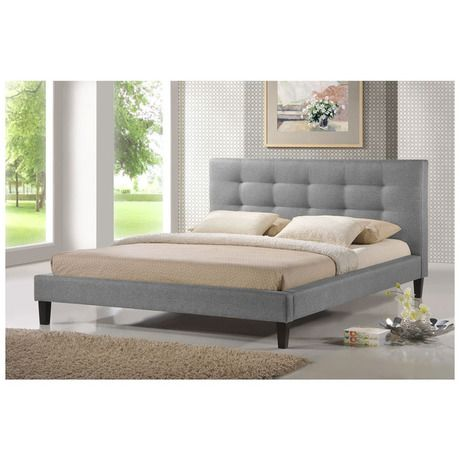 Quincey Twill Queen Platform Bed - Gray at 50% Savings off Retail!