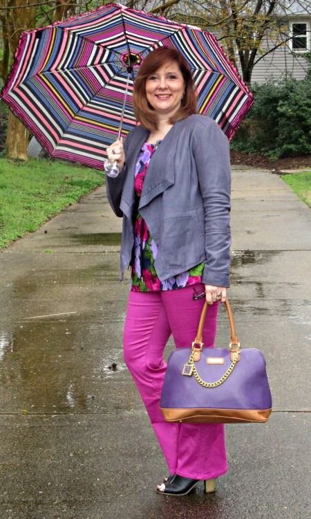 Fuscia Pants, Purple leather jacket, Floral top, Over 40 Fashion: