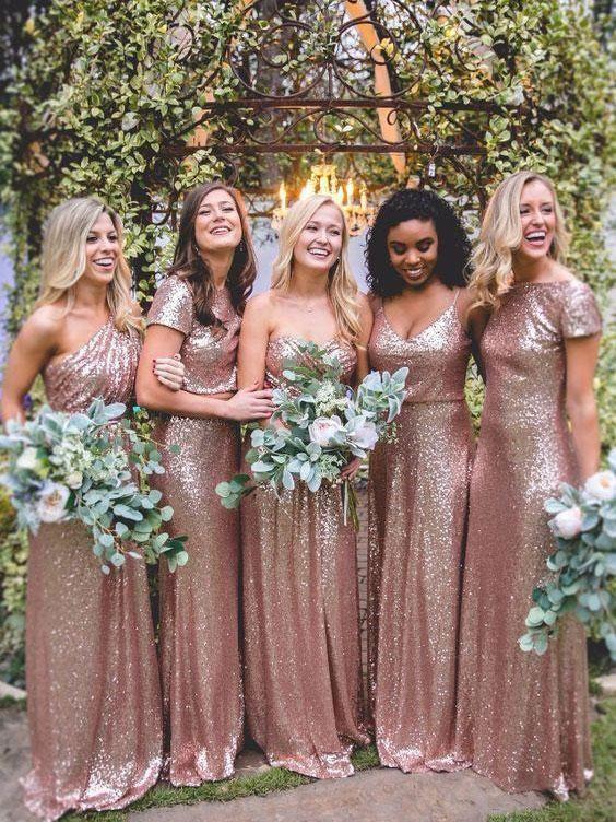 Mismatched Rose Gold Sequin Long Wedding Bridesmaid Dresses Apd2806