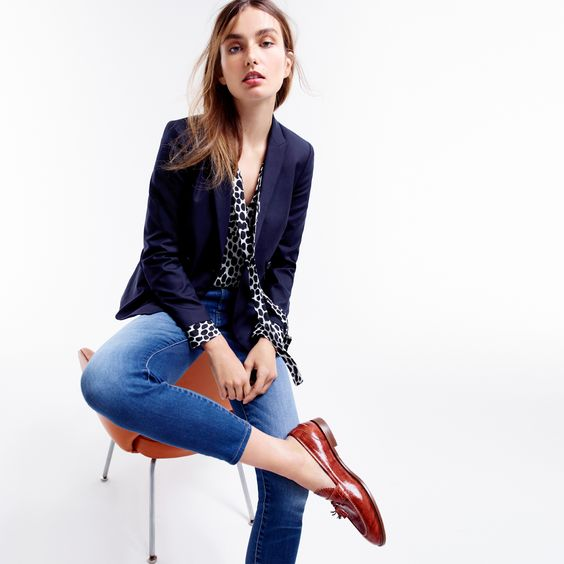 J.Crew Looks We Love: women's double-breasted blazer, Collection secretary bow blouse in dalmatian print, Lookout high-rise crop jean in Mariner wash and Biella crackled leather loafers.: