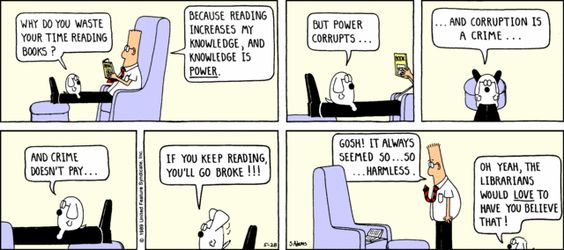 Dilbert and reading will make you go broke