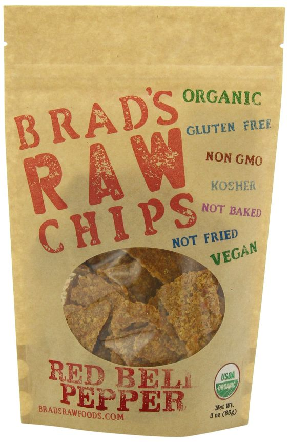 3oz Red Bell Pepper Flavor - Famous Brads Raw Chips - Vegan, Gluten Free, Natural, Healthy Snack