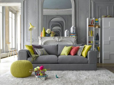 Colorful and grey decor by La Redoute | More photos http://petitlien.fr/nouveauteslaredoute: