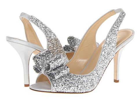 Kate Spade New York Charm Heel Silver Glitter/Silver Liquid Suede - Zappos Couture