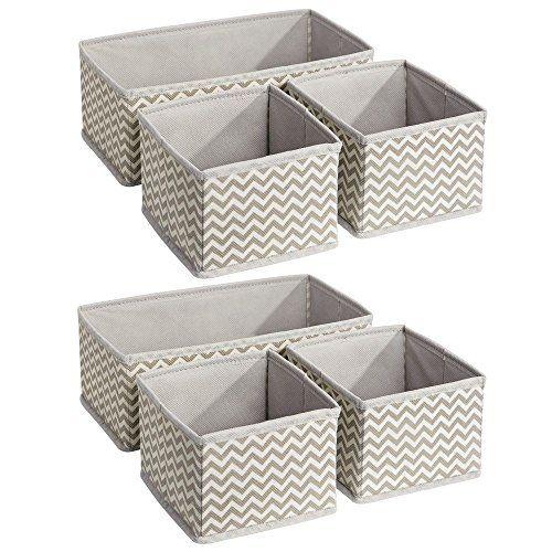 gris lot de 2 2 corbeilles de rangement avec 2 compartiments au total mDesign panier de rangement boite de rangement plastique