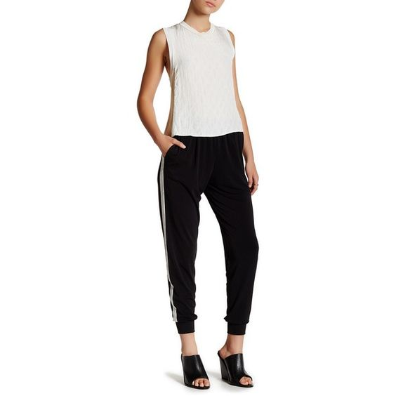 Leibl '38 Crepe Track Pant ($35) ❤ liked on Polyvore featuring activewear, activewear pants, black and track pants