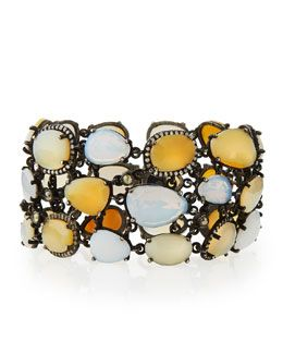 Y2R0K Bavna Statement Bracelet with Opals, Moonstones, & Diamonds