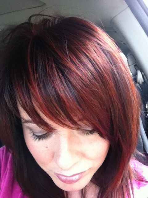 Dark brunette and red highlights. its pretty much what i ...