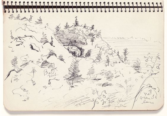 "Untitled (study for Vermont Spring), from Avery's Sketchbook (Jamaica, Vermont), Milton Avery, 1943. Ink on wove paper, 5-5⁄16 × 7-7/8"", National Gallery of Art."