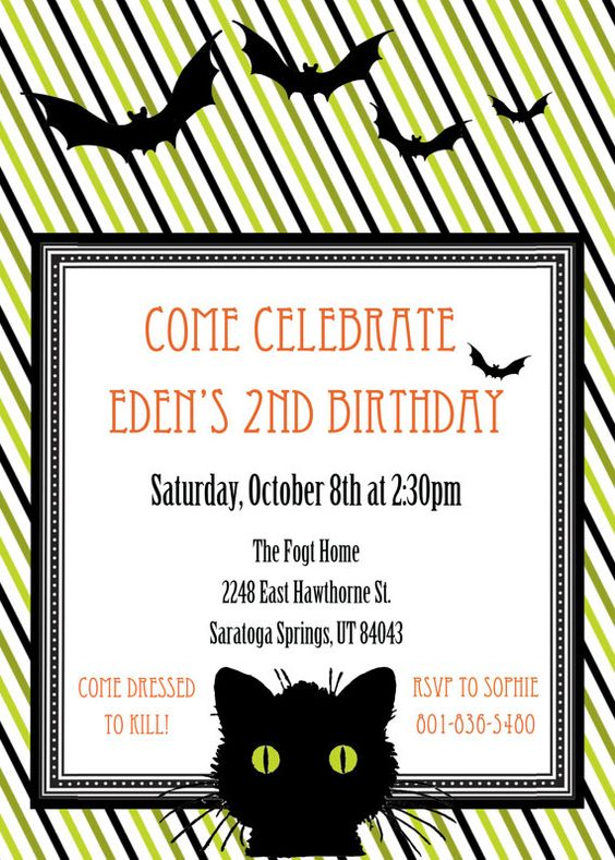 Gender Neutral Halloween Birthday Invitation