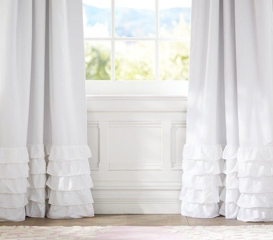 White Curtains black out white curtains : Ruffle Bottom Blackout Panel | Pottery Barn Kids | Ms Big Girl ...