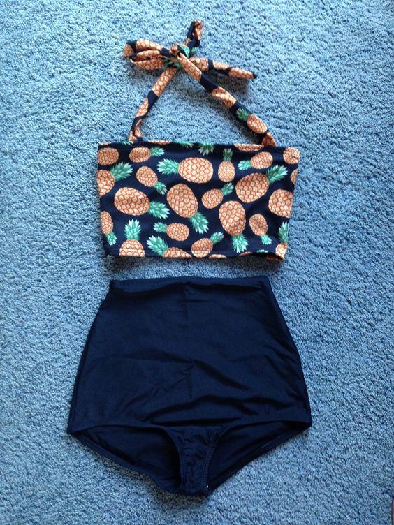 Boss Bikini. Pineapple print. Modest two piece swimsuit. Vintage style swimwear. High waisted bottoms.