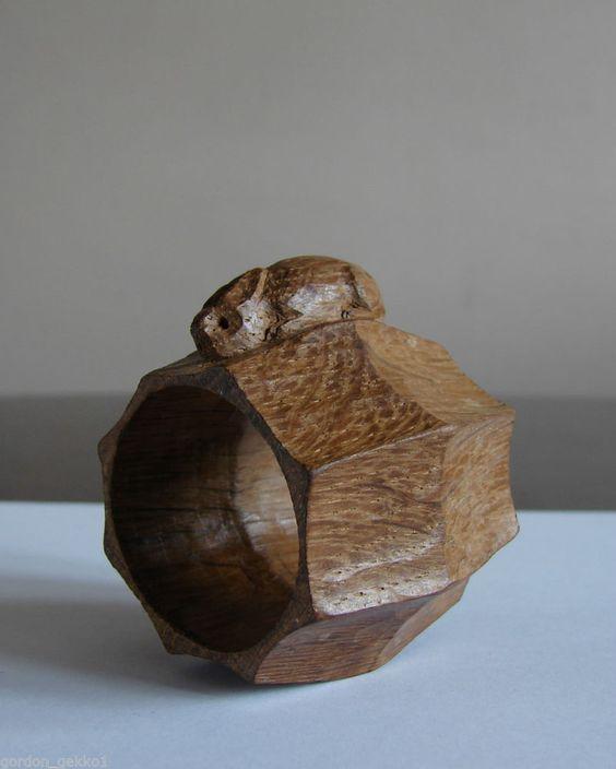 Rabbitman Peter Heap Carved Wooden Oak Napkin Ring