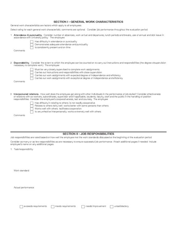Classified Employee Performance Assessment Employee Performance - job evaluation report