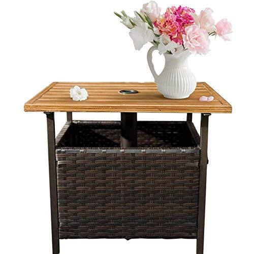 Sunlife Patio Wood Grain Side Table With Umbrella Hole Umbrella Base Stand Outdoor Furniture Bistro Table Pe Resin Wicker For Sale Wicker Patio Furniture Resin Wicker Patio Furniture Wood Patio Furniture