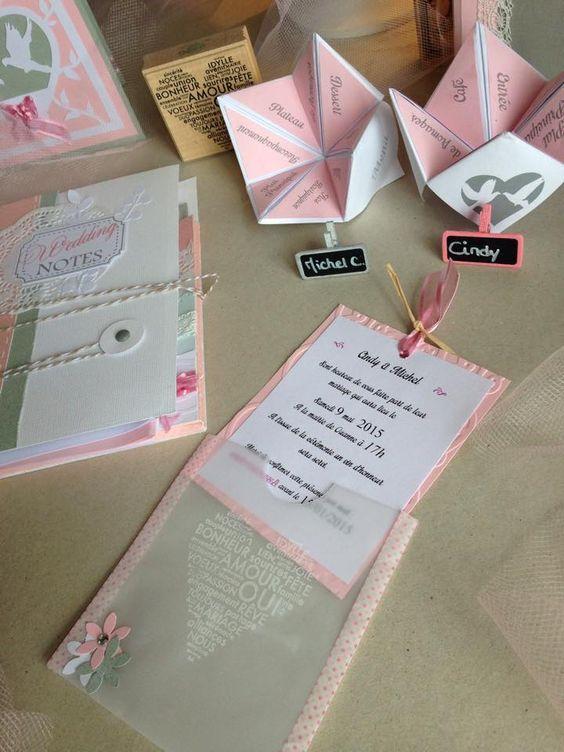 faire part et menus origami originaux en rose/gris/blanc