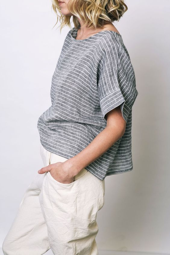 Striped chambray. Like the relaxed look.: