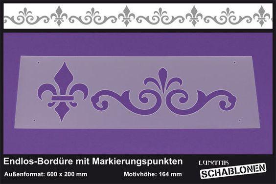 Schablone XL Bordüre Fleur de Lys Ornament - LB28  von Lunatik-Style via dawanda.com