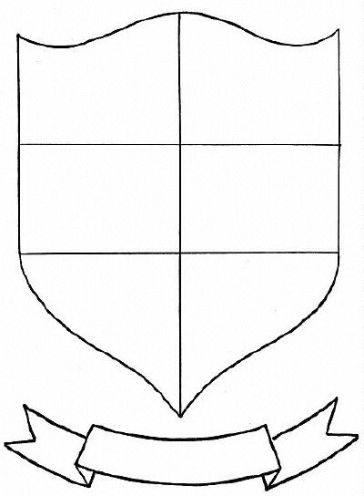 Family Crest Coloring Sheet Blank Shield Outline Lank