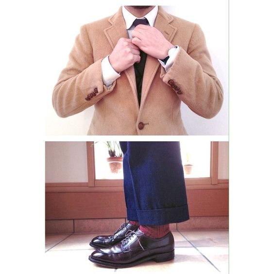 「1980's Squire Shop camel hair JKT made by Chaps by Ralph Lauren & Gambert Custom Shirt round collar oxford & The Hill Side tie & Workers denim trousers &…」