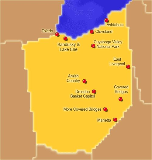 Ohio Attractions Click On The Map Or Select From The List Below - Ohio in map of usa
