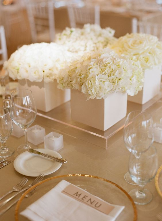 Low White Hydrangea And Garden Rose Centerpieces Party