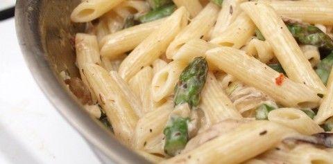 Creamy Shiitake Asparagus Pasta