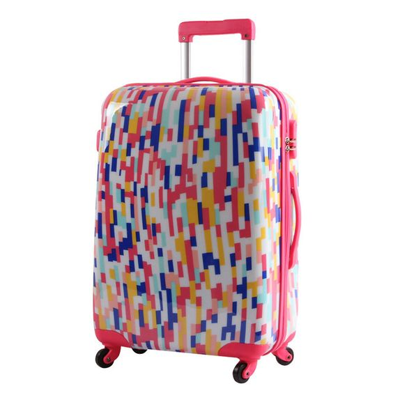 Luggage abs pc travel bag trolley luggage hard case fashion color stripe